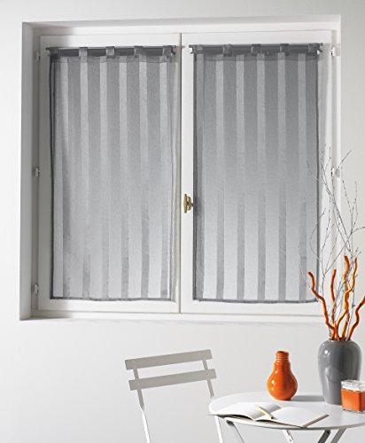 Douceur d'intérieur, coppia di tendine con passanti malta, 60 x 160 cm, grigio (grau)