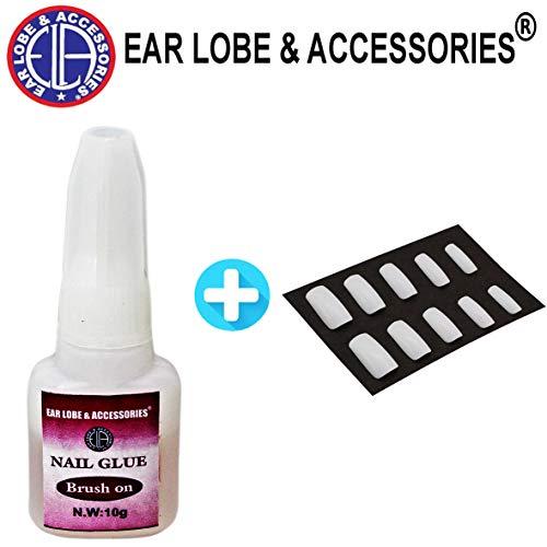 Brush on 10 ml Acrylic Nail Art Glue for French False Tips and Rhinestones Manicure+ Free 10pcs Nails