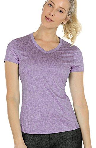 icyzone Damen Sportshirt Laufshirt V-Ausschnitt Atmungsaktiv Fitness Yoga T-Shirt Gym Oberteil Kurzarm (M, Lavendel) -