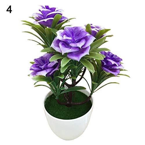 TLfyajJ 1 stück Topf künstliche Blume Bonsai Leistung bühne Garten Home Party Decor/gut gemacht und Leuchtend gefärbt, Sieht realistisch und schön aus Lila -