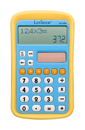 LEXIBOOK CK110FR - Calcolatrice Linea Doppia, 8 cifre, Funzioni Tradizionali e avanzate, Scuola elementare, con Bordi in Gomma, Blu/Giallo