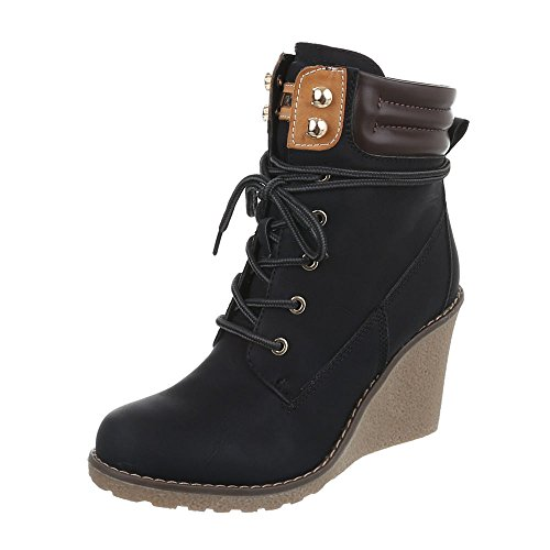 Ital-Design Keilstiefeletten Damen-Schuhe Plateau Keilabsatz/Wedge Keilabsatz Schnürsenkel Stiefeletten Schwarz, Gr 38, S122-