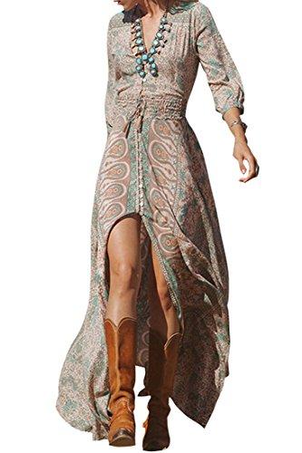 Azbro Mujer Maxi Vestido de Cuello Uve Abertura Cintura Elástica, Multicolor M