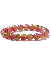 VEINTI+1 Natural Watermelon Tourmaline Crystal Energy Stretch Bracelet for Women/Girls