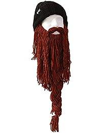 Strickmütze Roadie mit Bart lang braun schwarz