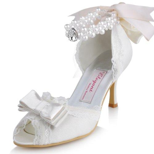 Elegantpark A3202 Satin Aiguille Perle Chaine Bout Ouvert Talon Pumps Femme Sandales Chaussures de Mariage Ivoire