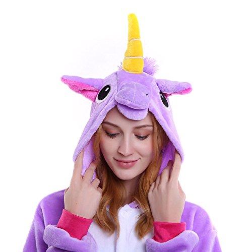 Imagen de tuopuda kigurumi pijamas unicornio unisexo adulto traje disfraz pijamas de animales enteros cosplay animales de vestuario ropa de dormir halloween y navidad m  158 167 cm height , purple  alternativa