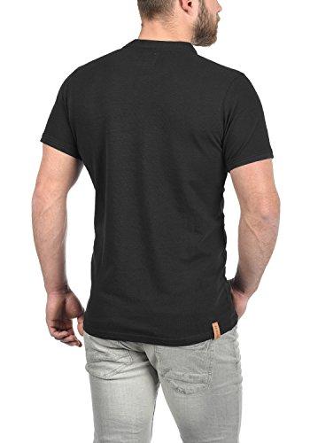 Redefined Rebel Mulligan Herren T-Shirt Kurzarm Shirt Grandad-Ausschnitt Aus 100% Baumwolle Black