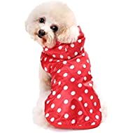 Doggie Style Store Red White Dog Puppy Pet Polka Dot Spotty Raincoat Rain Suit Coat Jacket