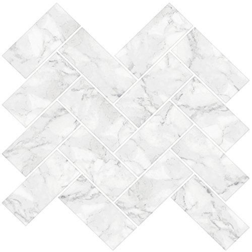 Inhome nh2358Fischgrätenmuster Carrara schälen und Stick Duett Fliesen, weiß/creme