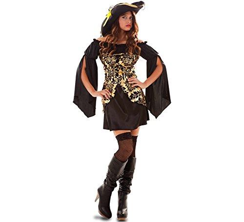 Fyasa 706552-T04 Goldener Piratenkostüm für 12 Jahre, Mehrfarbig, Größe L
