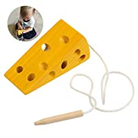 BelleStyle Montessori Activity Wooden Cheese Toy, Children Kids Early Learning Educational Wood Block Puzzles Toy