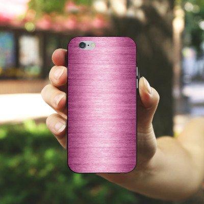 Apple iPhone 4 Housse Étui Silicone Coque Protection Metal Look - Pink Métal Rose Pink Housse en silicone noir / blanc