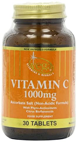 Vega 1000mg Vitamin C (Calcium Ascorbate) Non-Acidic - Pack of 30 Tablets
