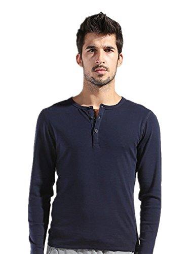 BOMOVO Herren Langarm Fashion Freizeit Langarm Shirt Slim Fit dark blau