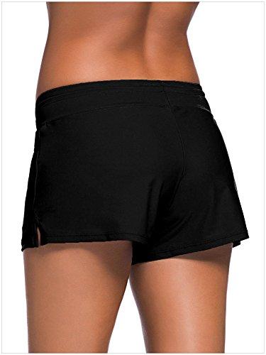 Leslady Damen Schwimmen Strand Rock Badeshorts Bikinihose Beach Shorts Hotpants Schwarz