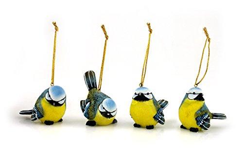 4x Deko Figur Vogel Vögelchen Meise zum Hängen im Set, 6,5 x 5 cm aus Polystein gelb blau, Dekofigur Vögel Hänger Fensterdeko Fensterhänger (Keramik Bemalte Figur)