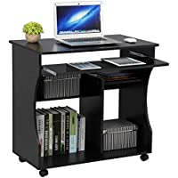 Yaheetech Movable Computer Desk Table Study Workstation with Sliding Keyboard Tray on Wheels 80.1 x 48.1 x 76.2 cm, Black