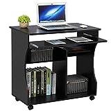 Yaheetech Scrivania Computer con libreria per Cameretta Studio Ufficio Potra pc Mobile con 4 Ruote Nera