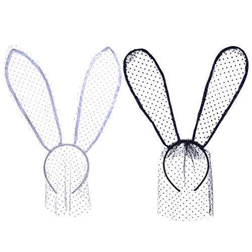 Hasenohren Kostüm Spitze - Beaupretty spitze hasenohren stirnband dot kaninchen schleier haarband mit spitze maske für halloween kostüm maskerade cosplay 2 stücke