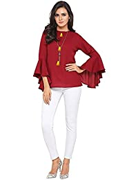 Keona Fab Women's Top (red Moss Top With Flute Sleeves)