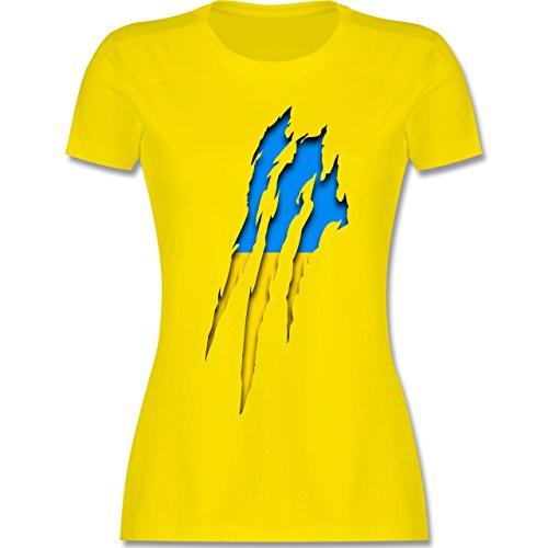 Shirtracer Länder - Ukraine Krallenspuren - Damen T-Shirt Rundhals Lemon Gelb