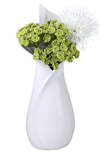 Formano Deko Vase aus Keramik mit Glasur in Mattweißer, 40 cm, Weiß -
