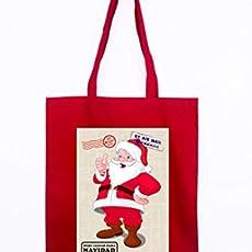 Gallaecia Studio Bolsa de tela roja con asas largas para regalos de Navidad.