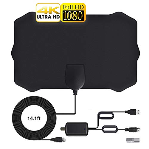 TV Antenna, HDTV Indoor Antenna with Portable Amplifier, 96-200 KM Range, 4K 1080p Support and All Indoor TV Antenna TVs