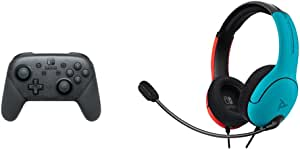 Nintendo Switch - Pro Controller + PDP LVL40 Wired Stereo Headset for NS - Joycon Blue/Red