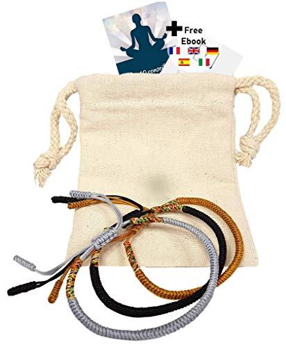 LOKUENCE Bracelet Bouddhiste, Bracelet Tibetain Porte Bonheur, Bracelet Moine Bouddhiste, Lot De 3 Bracelets Tibetains Chance (Jaune Or - Noir - Gris Argent) + Ebook Offert «Nos 10 Conseils Chance»
