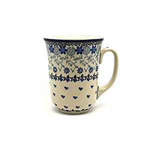 Polish Pottery Mug – 16 oz. Bistro – Silver Lace