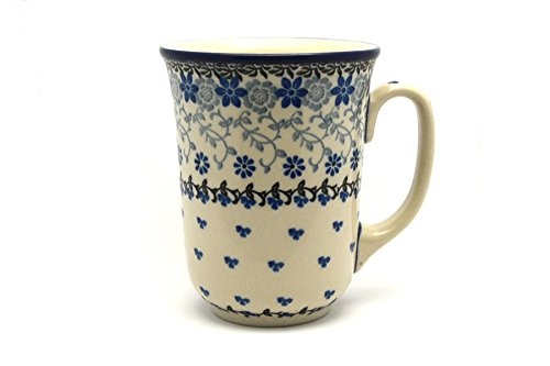 Polish Pottery Mug – 16 oz. Bistro – Silver Lace