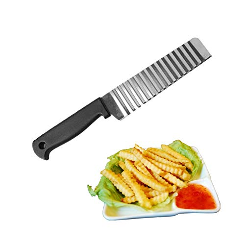 Dinner Knives - Stainless Steel Multifunctional Potato Curly Corrugated Knife Vegetable Wave Cutter Cutting Quelity - Stainless Dinner Kitchen Bulk Brushed Rainbow Forks Knives 18/0 Restaura Restaurant French Fry Cutter