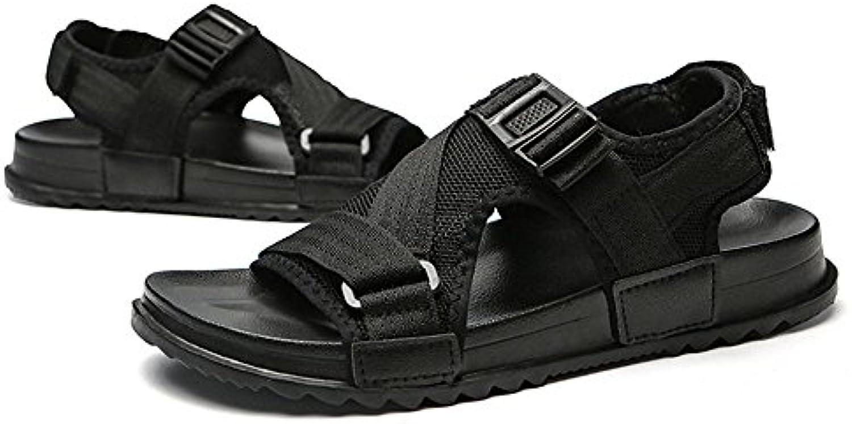 QXH Sandalias para Hombres Zapatos de Playa Cuero Cabeza Redonda Transpirable Casual