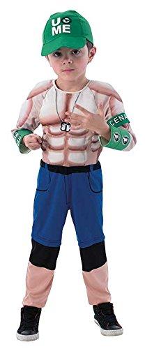 WWE Wrestling John Cena Kostüm. Medium 5-7 Jahre. 132 cm Höhe. Gepolsterte Brust Overall, Hut und Armband.