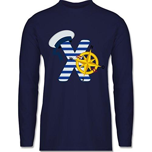 Shirtracer Anfangsbuchstaben - X Schifffahrt - Herren Langarmshirt Navy Blau