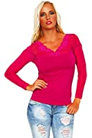 10185 Fashion4Young Damen Langarm Damen T-Shirt mit Spitze langarm Top Bluse Shirt Tunika Hemd