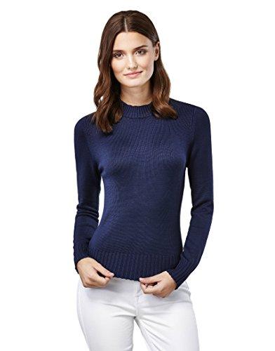 Vincenzo Boretti Damen Pullover mit gerippten Stehkragen dunkelblau L (Pullover Blaue Gerippten Rollkragenpullover)