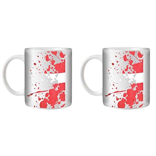 STUFF4 Tazza di Caffè/Tè 350ml/2 Pack Danimarca/Bandiere del Mondo Splat/Ceramica Bianca/ST10