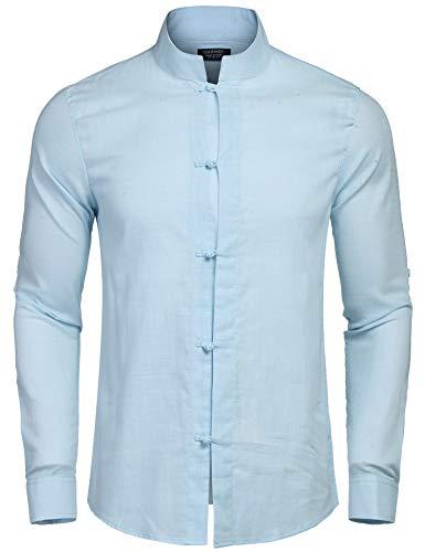 Coofandy Herren Hemd Leinenhemd Langarm Regular Fit Stehkragen Einfarbig Freizeithemd für Männer blau XL
