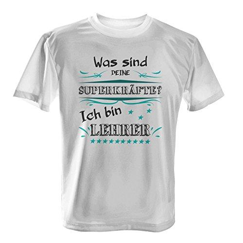 Was sind deine Superkräfte? Ich bin Lehrer - Herren T-Shirt von Fashionalarm | Spaß & Fun Shirt mit Spruch | Geschenk Idee für Männer Berufseinsteiger & Absolvent Beruf Arbeit Lustig Lehrkraft Schule Weiß