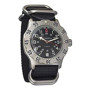 Vostok Komandirskie K-35 Russische Militär-Automatik-Armbanduhr mit Automatik-Uhr, schwarz, Zulu NATO Band #350751