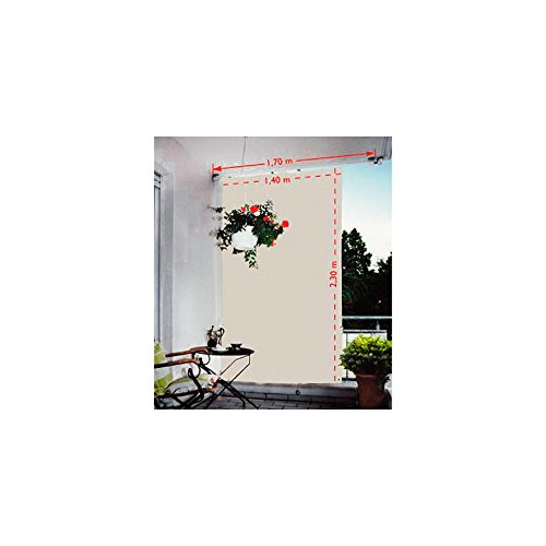 Floracord 05-77-67-00 p verticale tenda da sole 230 x 140 cm con accessori per il montaggio, grigio argento