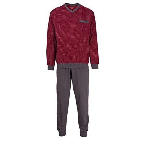 GÖTZBURG Herren Pyjama, langarm, Baumwolle, Single Jersey, rot bedruckt, mit Bündchen 52 (Herren Zwei-knopf-single)