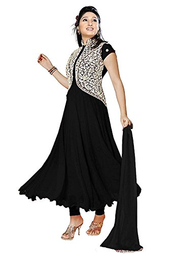 Shree Krishna Sales Corporation Women's Georgette Anarkali Salwar Suit Set (Pankhudi Black__Free...