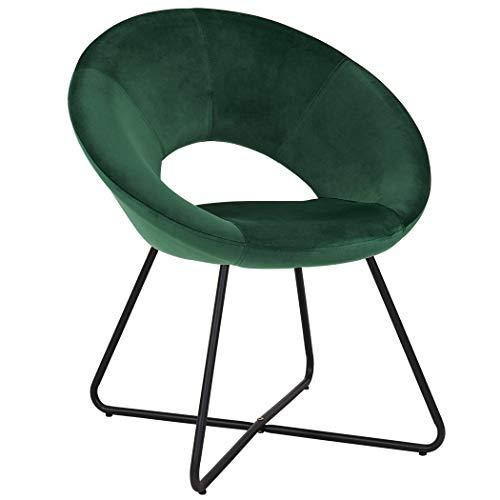 Duhome Esszimmerstuhl Stoffbezug (Samt) Grün Konferenzstuhl Besucherstuhl herausragendes Design Gestell aus Metall Farbauswahl 439D -