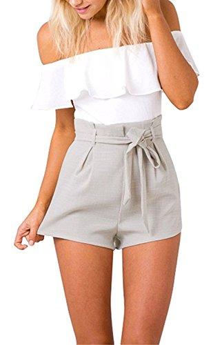 Tomsent Damen Sommer Elegant Trägerlos Rückenfrei Overall Hose Playuit Jumpsuit Romper Bodysuit Freizeit Spleißen Weiß DE 36