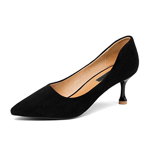 HWF Chaussures femme Printemps mince à talons hauts pointu femmes chaussures banlieue bouche peu profonde chaussures unique occupation femme ( Couleur : Noir , taille : 38 ) Noir
