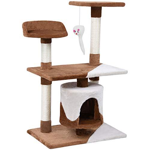 Wellhome Árboles para Gatos Rascador para Gato Escalador para Gatos Juguete de Sisal 95cm Clásico Marrón & Beige